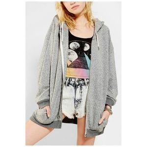 Urban Outfitters Grey Burnout Oversize Zip Hoodie